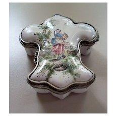Antique French Faience Veuve Perrin  Fleur de Lis Box Pewter Mounts 18th cent
