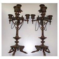Antique Pair French Bronze Candelabra  Pompeii Designs 19th Century
