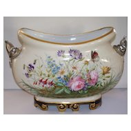 Large Antique French Porcelain Jardiniere  Dolphin Handles  ca.1890