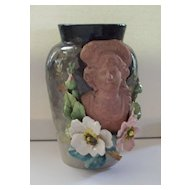 Antique French Faience Barbotine Vase Edouard Gilles  ca.1890