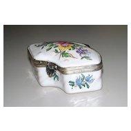 Antique French Faience Veuve Perrin Rococo Box  Exotic Bird  ca. 1770