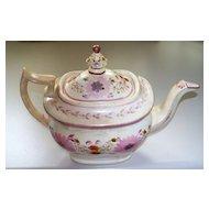 Antique Staffordshire Lustre Tea Pot  flowers & acorns