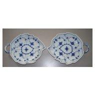 Pair Royal Copenhagen Leaf Plates  ca. 1970  unused