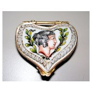 Antique Capo di  Monte Heart-Shaped Box Putti Bronze-Mounts 18th century