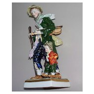 "Antique Capodimonte Man &  Child   with Violin 19th century  7.6"" High"