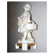 Antique German Bisque Figurine of a Young Girl Gathering Flowers E. A.  Muller