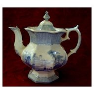 Antique Staffordshire Octagon-Shaped Teapot Adams & Sons Ironstone circa 1860