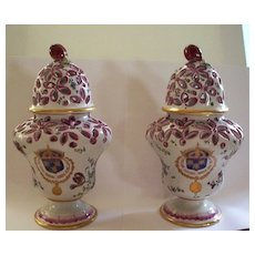 Pair of Antique French Faience Armorial Paul Hannong Potpourri Vases ca.1740