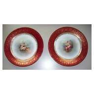 Antique  Pair  Austria  Beehive Mark   Goddesses & Putti Plates   Perfect