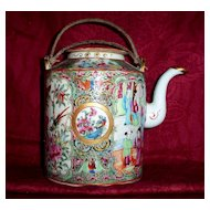Antique Chinese Famille Rose Export Medallion Porcelain Tea Pot 19th century