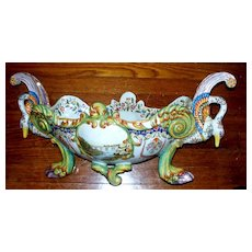 "Antique French Faience Fourmaintraux Freres Jardiniere  23"" wide  Wow!"