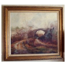 """Original """"The Bridge"""" Oil Painting by John Caggiano of Rockport, Ma. dated 1983"""