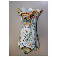 Antique French Faience Desvres Fourmaintraux Tin-Glaze Rococo Vase