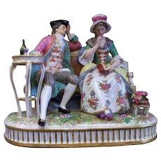 Antique Achille Bloch Bourdois Porcelaine de Paris Courting Couple  ca.1890's