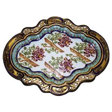 Antique St. Clements  Renaissance Design  Reticulated  Faience Large Tray