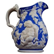 Two Antique Bennington Parian Small Pitchers/Jugs   mid  19th century & a Staffordshire Apostles Pitcher