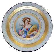 Beautiful  Antique Sevres Paris Porcelain  Hand-Painted Plate  18th century