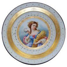 Beautiful  Antique Sevres Paris Porcelain  Hand-Painted Plate  18th century