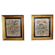 Antique Pair of Silk Needlework Flowers in 24K Gold Leaf Original Frames ca.1780