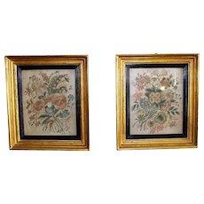Antique Pair of Silk Needlework Flowers in 24K Gold Leaf Original Frames ca.1780