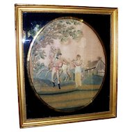 Antique Silk Needlework of an American Soldier , Maiden and Horse ca. 1780s with Original Reverse Glass/Frame