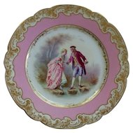 """Antique Sevres Chateau Des Tuileries Plate """"Lovers"""" signed"""