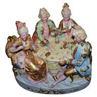 "Antique German ""Card Players"" Porcelain Nodders Group.."