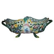 Large Vintage Italian Nove Faience Woven Hand-Painted Floral Centerpiece Basket..