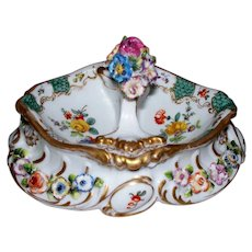 Antique Paris Porcelain C.H. Levy Rococo Floral Basket circa 1876-1881