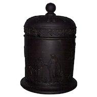 Wedgwood Black Basalt Classical Themes Grecian Women & Winged Cherubs Covered Jar