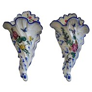 Pair Antique Large French Faience  Gien Wall Pocket Vases  circa 1875