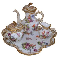Antique 'Bourdois & Bloch' 'Achille Bloch'  Paris de Porcelaine Rococo Tea Set.. ca. 1880