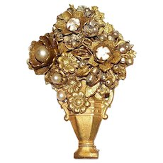 Miriam Haskell Faux Diamonds & Pearls Vase-Shaped Brooch
