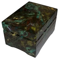 Vintage Artist- Painted Wooden Faux Marble Music Box