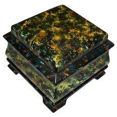 Vintage Artist Hand-Painted Faux Lapis Lazuli Oil Paint & Wood  Jewelry Box