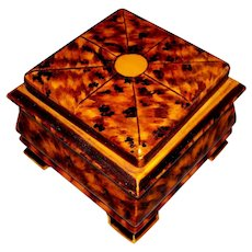 Large Vintage Artist -Painted Faux Tortoise Shell Jewelry Box