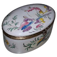 "Lovely Antique Large French Faience Veuve Perrin 'Chinoiserie' Box ""Fishing""  perfect."