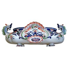 Stunning Antique French Faience Jardiniere Serpent/Dragon Handles