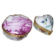 Two French Porcelain Boxes: one #1- Porcelain de Paris; one #2-Chantilly ,France