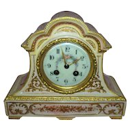 Antique French Porcelain Clock Samuel Marti & Cie  circa 1875  Cupids & Roses..