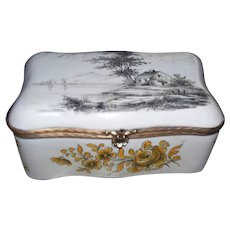 """Antique French Veuve Perrin Large Box """" Cabin in the Woods"""" & Yellow Roses Perfect"""