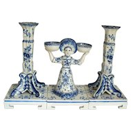 Antique Delft Pair of Candlesticks & Two Girl Salt Holder  19th century..  Marked.