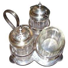 Antique Sterling & Silver Plate Salt & Pepper & Sugar Holder..