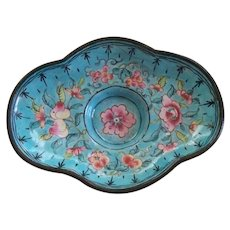 Antique Chinese Enamel  Small Tray /Dish over Copper with Roses.. Republic Period     early 1900