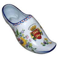 "Large Antique French Faience  "" Arras ""  Shoe Vase  ""Armorial "" Normandie   A Butterfly...  circa 1780"