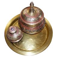 Vintage Asian Brass Niello Set of Covered Jar, Bell and Hand-hammered Tray circa 1970 & earlier