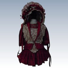 Gorgeous Red Velvet Couturier Costume Dress Jacket Hat for antique french Bebe doll