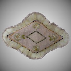 Exquisite Antique 1880's  Embroidery organza silk pillow for antique french bebe doll decor