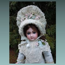 """Marvelous 22"""" Antique French bisque bebe JUMEAU doll C.M. in Couturier Costume"""