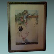 Marvelous Vintage Childhood Sweethearts framed Print by Henry F. Wireman